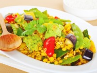 Colorful healthy meal on white plate